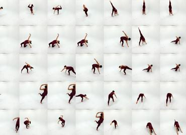 Collage of dance poses of artist Kate Sicchio