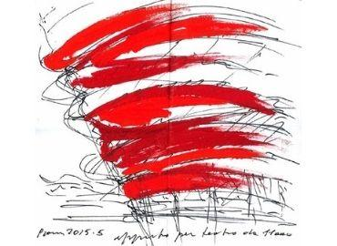 Splashes of red paint above nondescript sketch