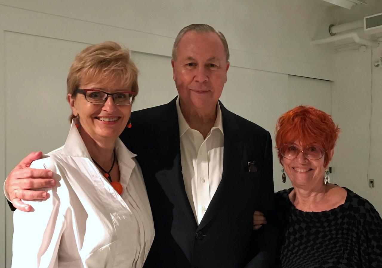 Robert Wilson with Director of the Centre for Drama, Theatre and Performance Studies Tamara Trojanowska and Professor Pia Kleber, a major force behind the creation of the BMO Lab.